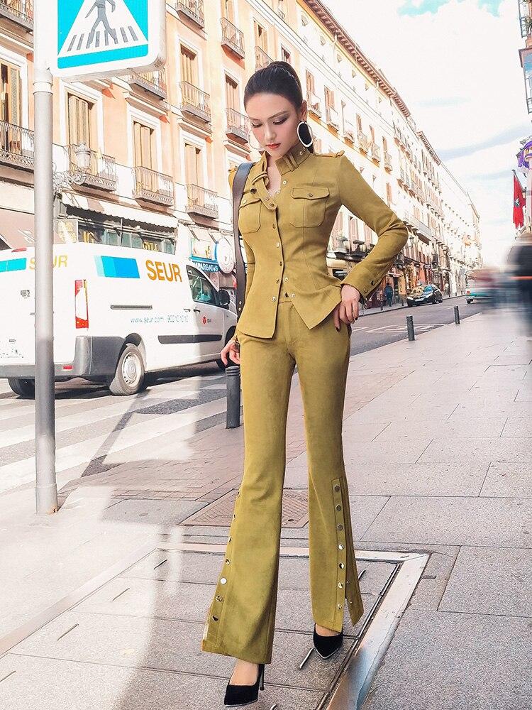 Real Micro pièce Polyester Daim De Tempérament Pantalon Mode Deux Costume Femmes Minceur New Jaune Et 2018 Chemise Moutarde 5UxR6HTwTq