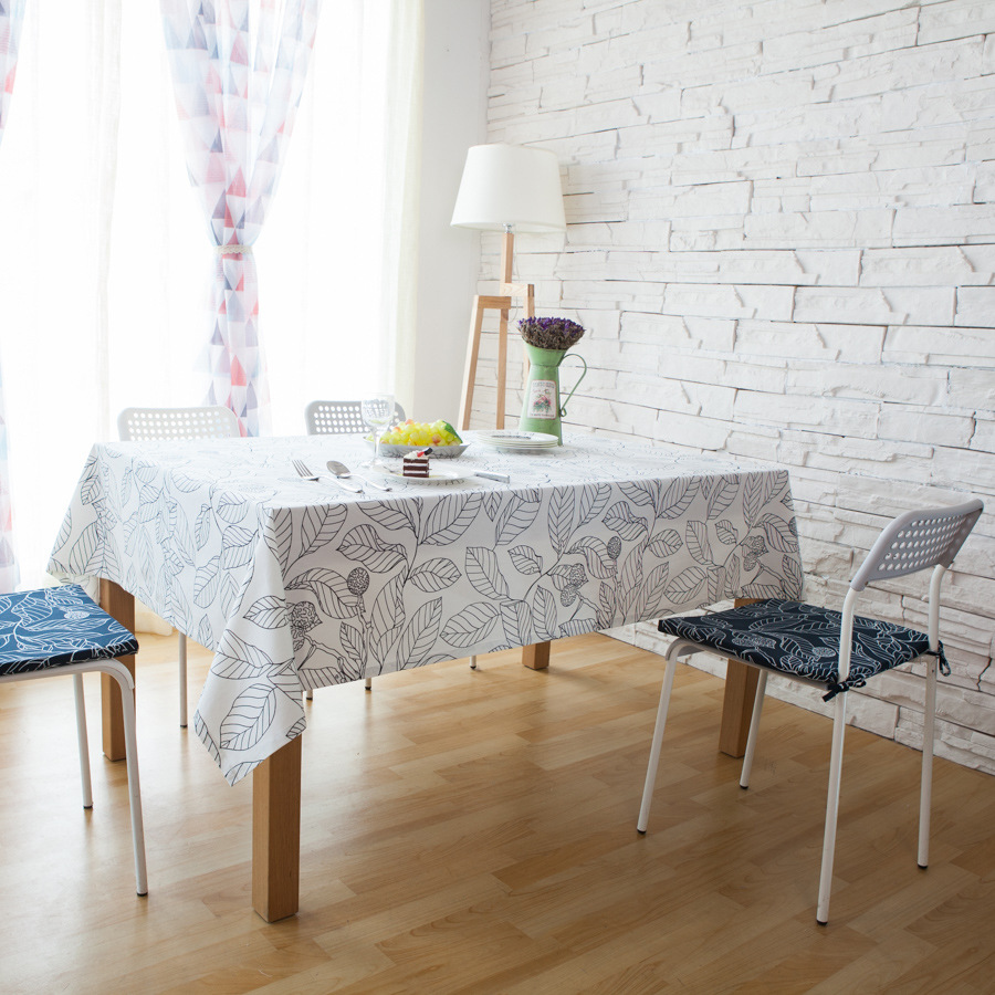 Leaf Print Decorative Table Cloth Cotton Tablecloth Dining