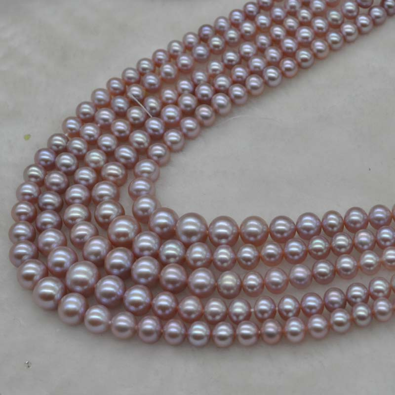 AAA 4 9mm natural lavender real freshwater pearl string Q30322