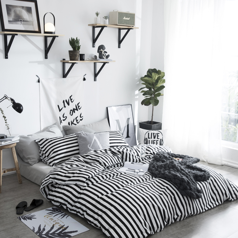 100% Cotton Bedding Brief Stripes Duvet Cover Set white black Bed flat Sheet Pillow Case Twin Queen Size For Adults bedclothes