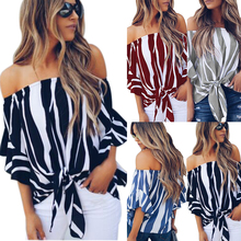 HEFLASHOR Sexy Off Shoulder Blouses 2019 New Women Striped S
