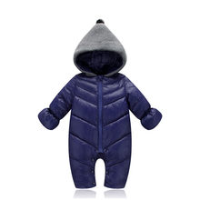 Baby Boys Down Cotton Coats Clothes Winter Kids Girls Body Suit Candy Onesies Newborn Child Knitted Hat Fashion Warm Coats(China)