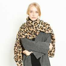 2019 Winter Warm Leopard Printing Cashmere Women Scarf Fashion Retro Coffee Thick Soft Shawls Tassel Scarves For Ladies