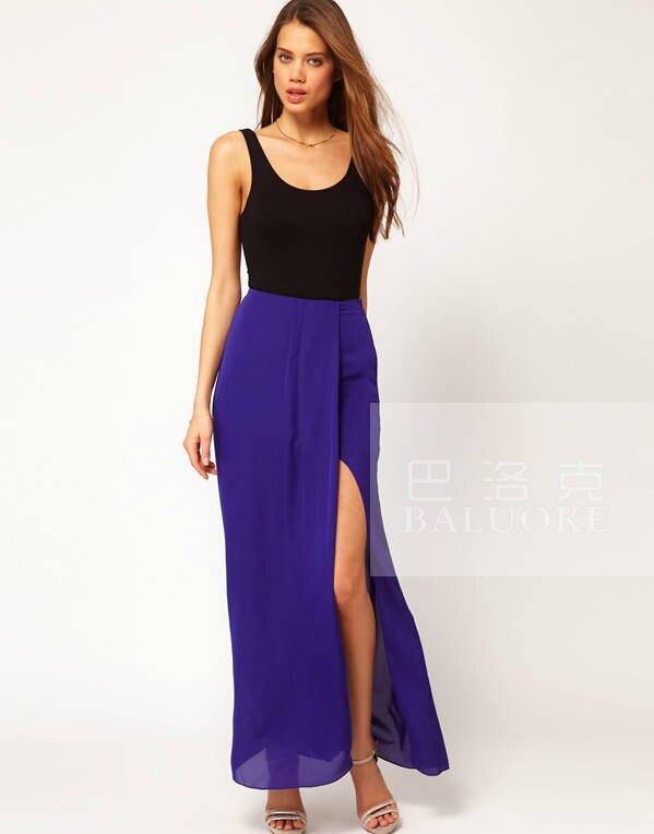 2014 new summer fashion slim loose flowing chiffon long maxi ...