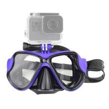 السباحة قناع الزجاج المقسى قناع الغطس ل GoPro بطل 7 6 5 4 3 ل شاومي يي 4K Sjcam Eken قناع غوص ل قبضة اليد العائمة ضد الماء