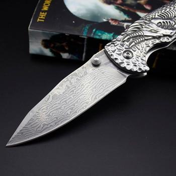 Damaskus Jagdmesser | AZRAE DM003 Silber Drachen Damaskus Stahl Klapp Jagd Messer Custom & Handmade Mit Ebenholz Griff Camping Messer Outdoor-Tool 60H