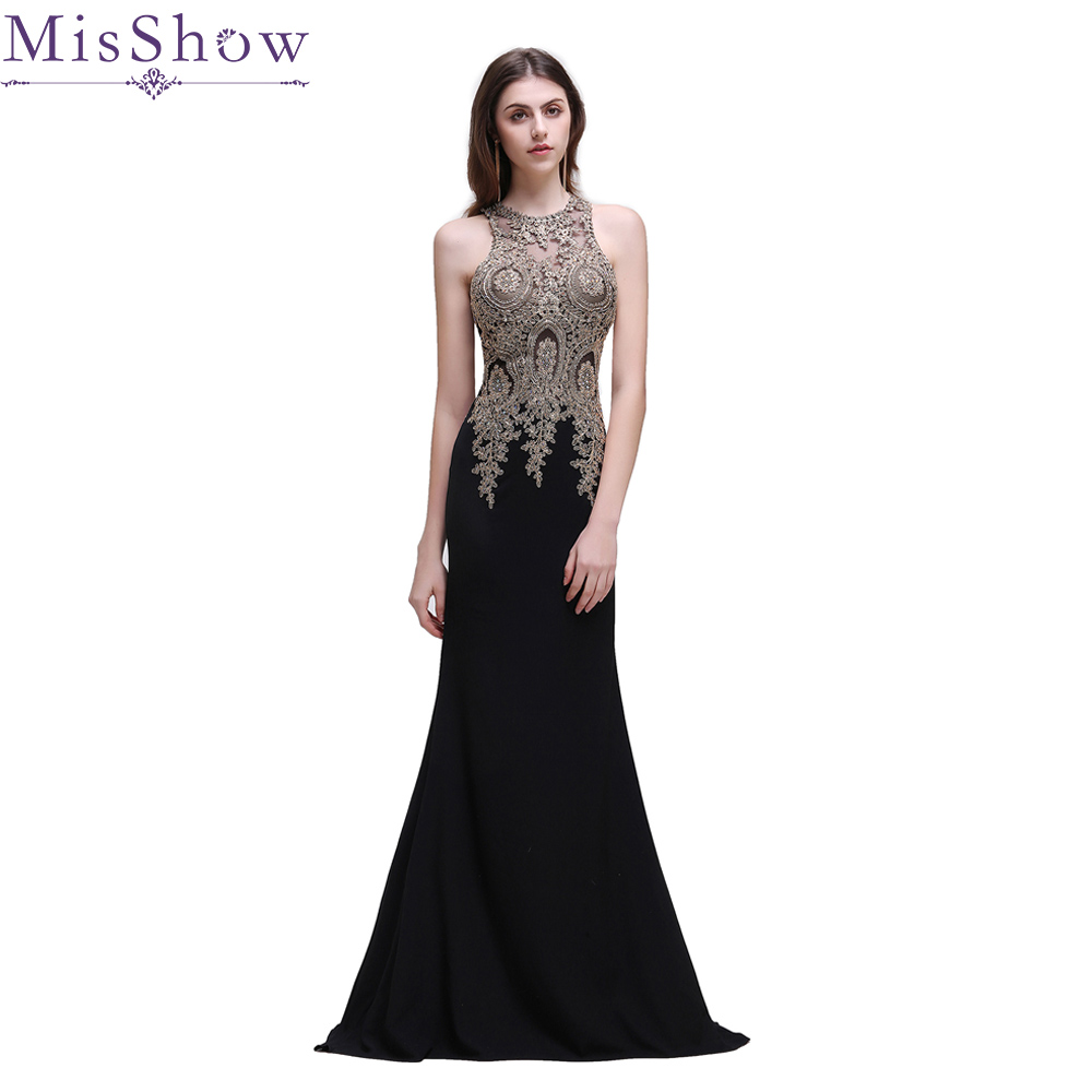 Robe De Soiree 2019 Black Plus Size   Evening     Dresses   Elegant Mermaid Sleeveless Beading Long Formal Applique Wedding Party Gowns