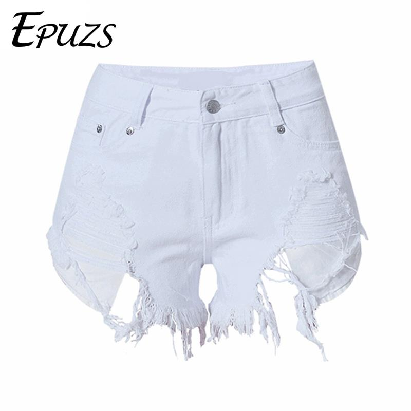 Summer High waist jeans <font><b>shorts</b></font> <font><b>women</b></font> cotton <font><b>mini</b></font> <font><b>sexy</b></font> white ripped denim Streetwear <font><b>womens</b></font> <font><b>shorts</b></font> femme plus size 2019 image