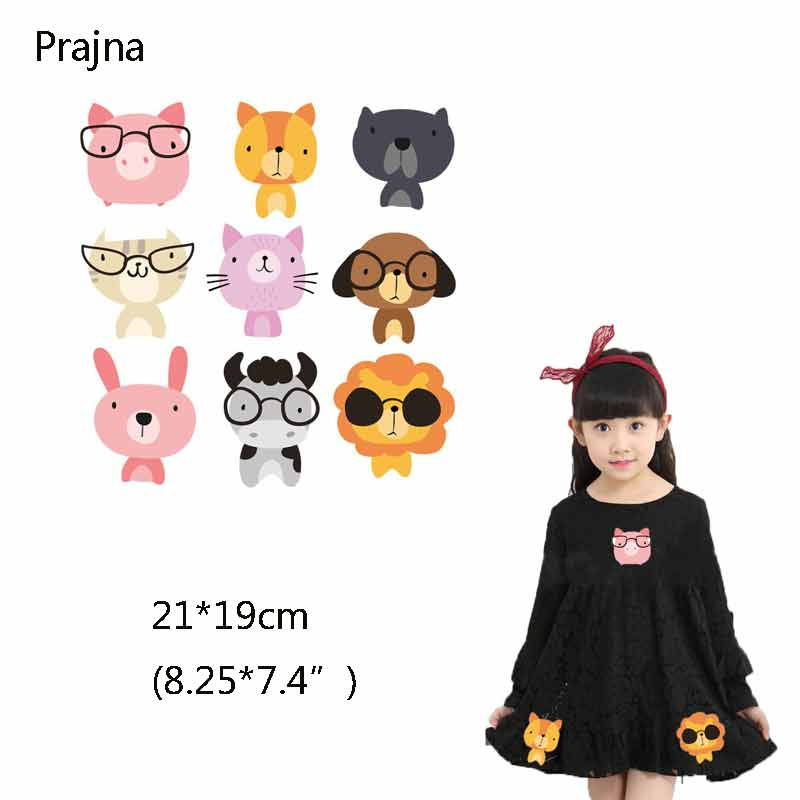 Pig Patch Glasses Paw Patrol Clothes Heat Transfers For Clothes Funny Decoration For Girls Thermo-Stickers DIY T-Shirt Press D