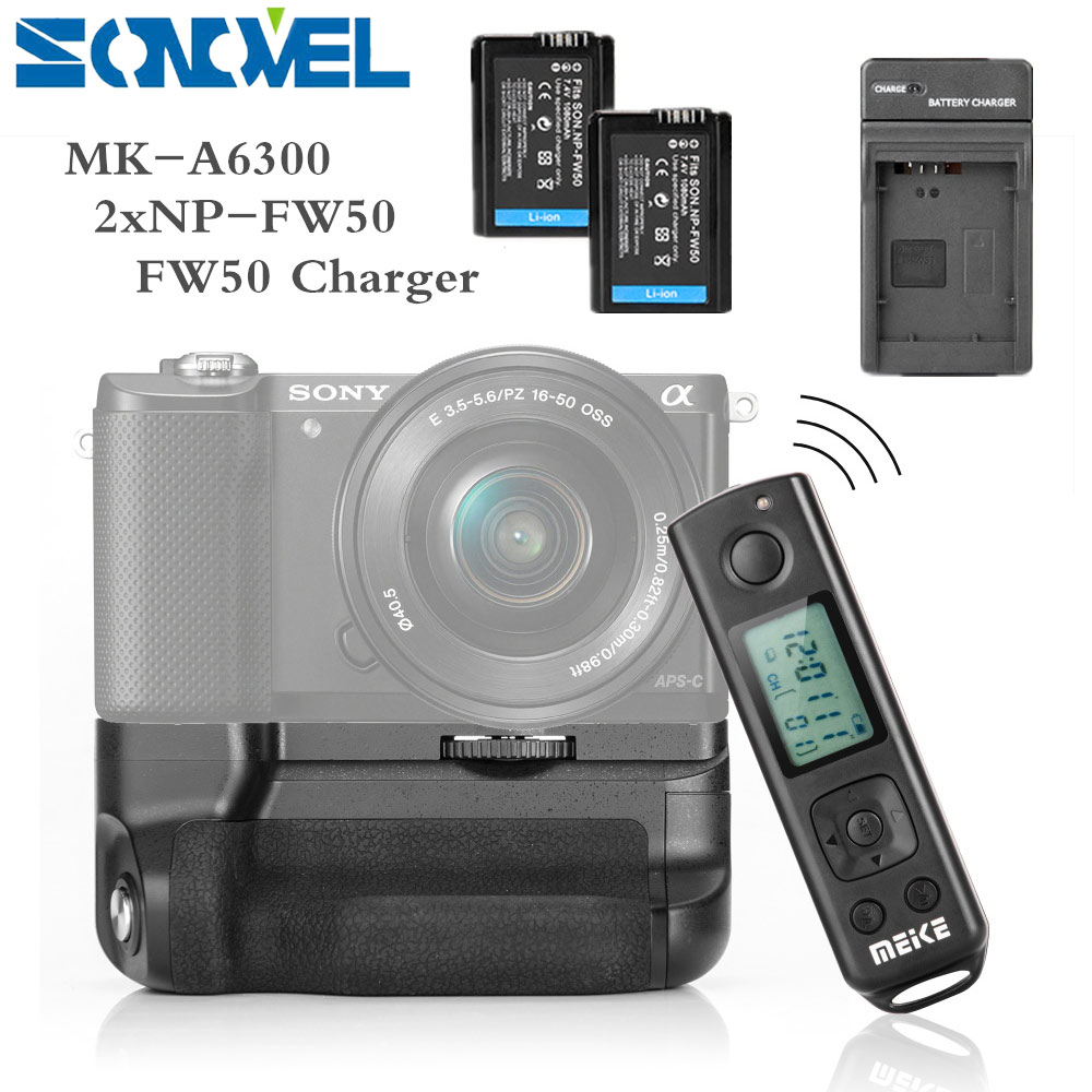 2X NP-FW50 Battery Compatible Sony A6300 A6000 Digital Camera as NP-FW50 DSTE Replacement for Pro Wireless Remote Control VG-6300 Vertical Battery Grip