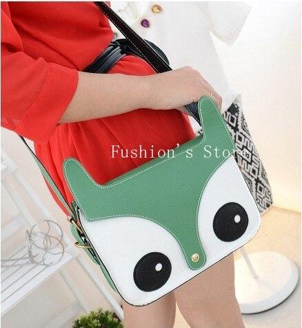 Free shopping,Fashion Women  PU Leather Cute Cartoon pattern Fox Head Shoulder messenger Bag Handbags 6 Colors,1 pcs/lot