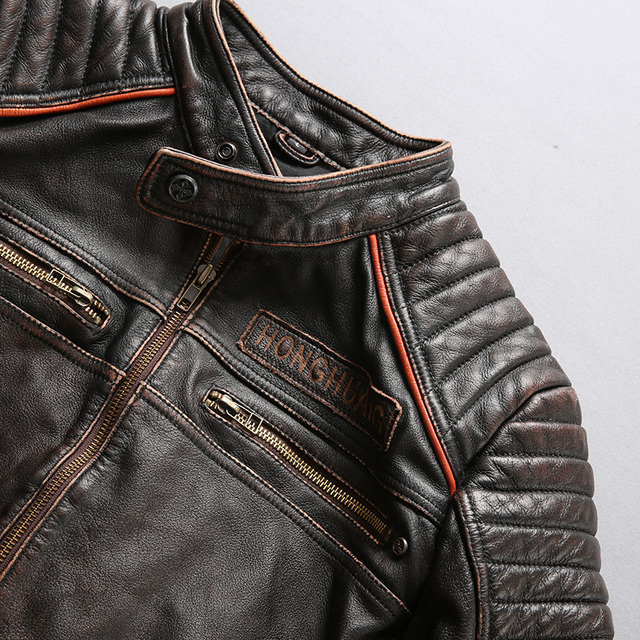 3D SKULL GENUINE COW SKIN LEATHER JACKET