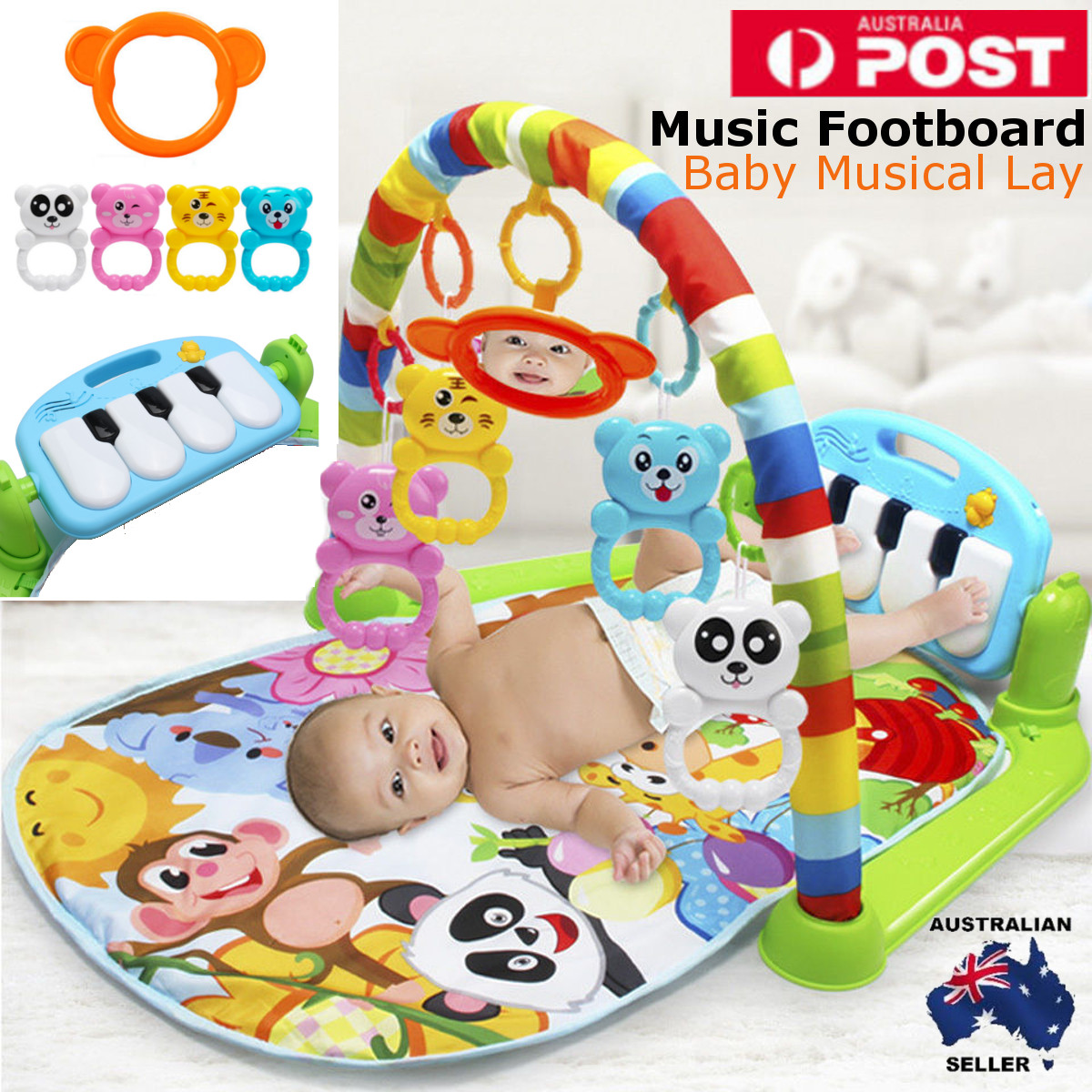 3 In 1 Educational Toys Baby Play Mat Kids Rug Educational Puzzle Carpet With Piano Keyboard And Cute Animal Playmat Baby Gym
