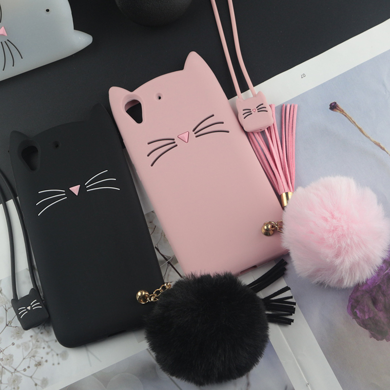 Cute 3D Cartoon Silicon Case For Huawei Y6ii Cases Japan Glitter Beard Cat Lovely Ears Kitty Phone Cover For Y6 II Compact Mini
