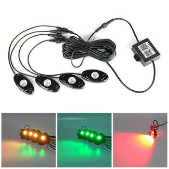RGB LED Rock Light Kits with Bluetooth Control & Cell Phone Control Multicolor Lights Under Off Road Truck SUV ATV Motorcycle