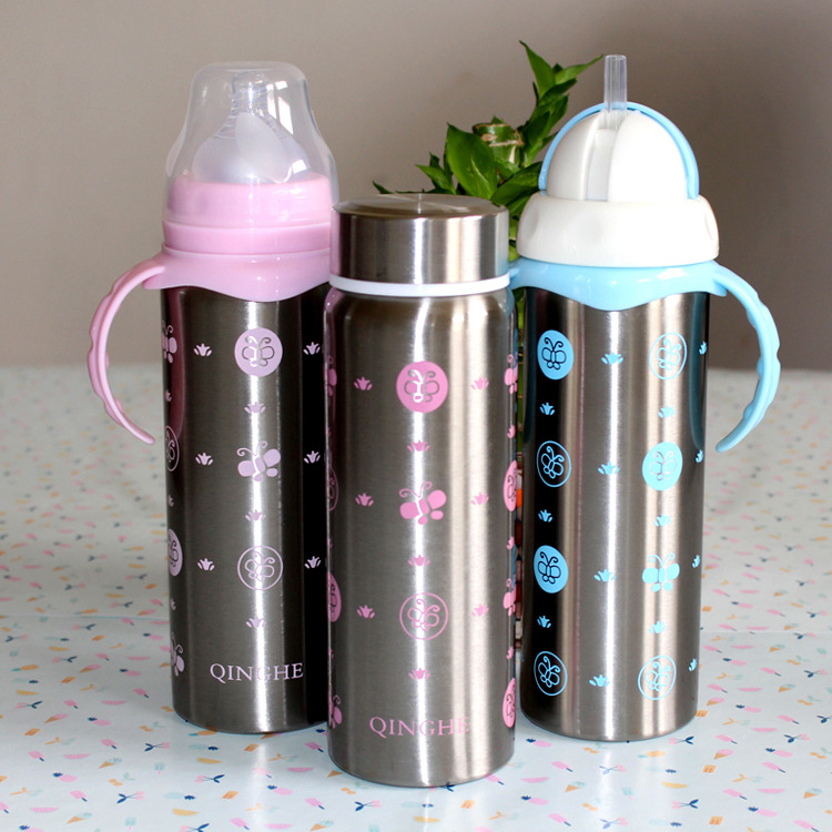 Manufacturer Wholesale Baby Stainless Steel Bottle Wide Diameter With Handle Suction Bottle Insulation Cup Double Bottle