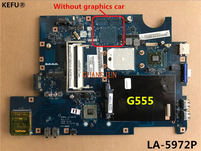 KEFU Free Shipping For Lenovo G555 Motherboard LA-5972P  Fully Tested