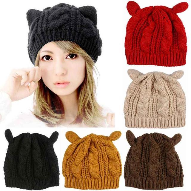 Invierno mujeres casquillo hecho punto sombreros moda gato orejas ...