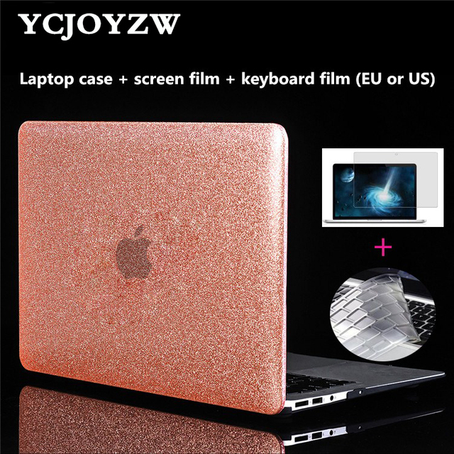 New Case for Macbook Air 13 Pro Retina 11 12 13 15 inch with Touch Bar New,Shine Laptop Case+keyboard cover+Screen film -YCJOYZW