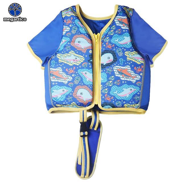 ce563743b4f0 Megartico salvavidas niños azul tiburón delfín estampado natación  entrenador chaleco zwemvest niño swiming chaqueta para 2 6 años viejo