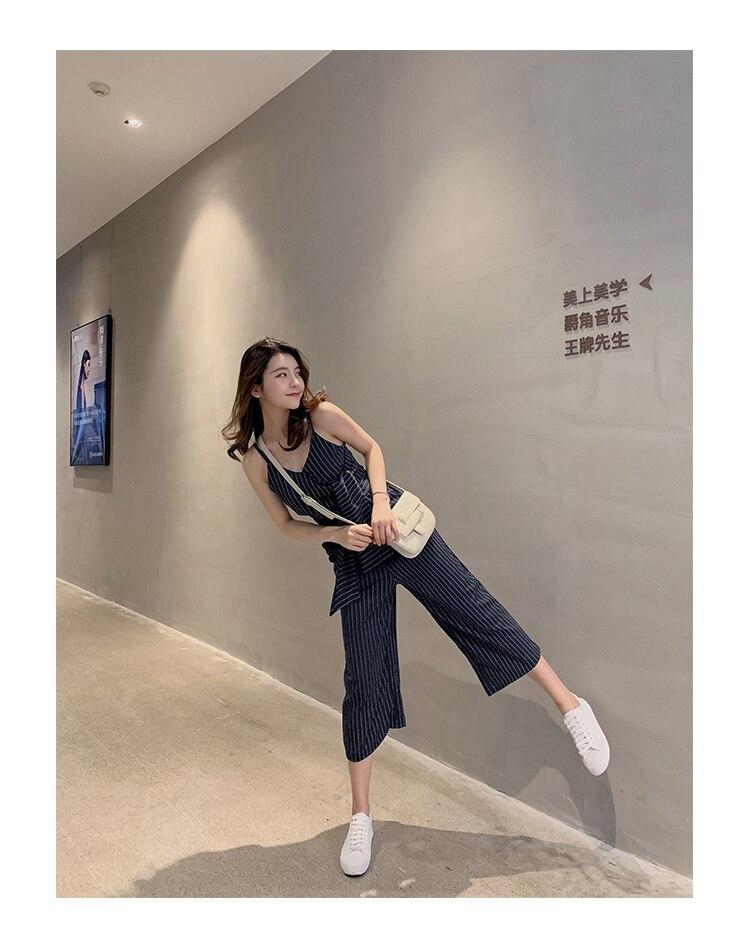 Sling Off Shoulder Sleeveless Striped Jumpsuit 2019 New Fashion V-Neck High Waist Nine Points Wide Leg Jumpsuit Summer 29