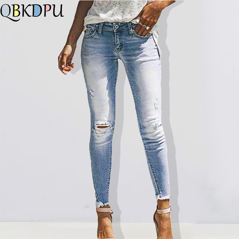 Fashion Womens Blue Destroyed Ripped Slim Denim Jeans Boyfriend Jeans Female Sexy Hole Pencil Trousers 2019 New Mom's Plus Size