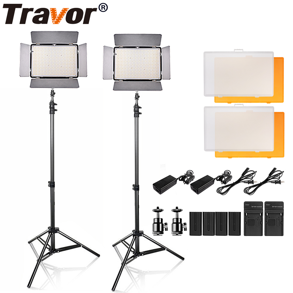 Travor 2 in1 TL-600S LED Video Light kit 3200K 5500K studio light /camera camcorder light with 4pcs NP-F550 battery and bag travor tl 600a 2 4g kit bi color led video light 3200k 5500k for photography shooting three light 6pcs battery 3 light standing