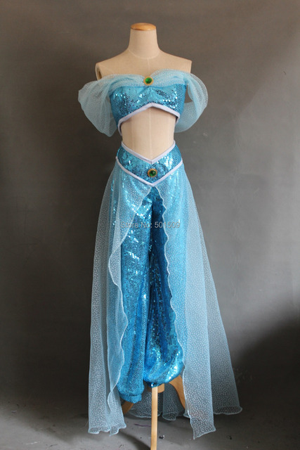 Real photo womens adults ladies jasmine costume halloween character cosplay princess light blue - Robe jasmine disney ...