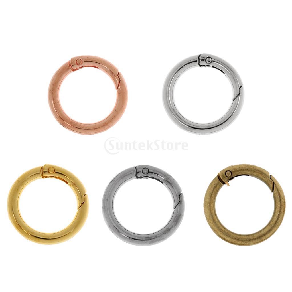 5pcs/set 28mm Zinc Alloy Circular Round Carabiners O Rings Spring Clip Snap Hook Keychain Camping Hiking