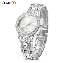 Comtex Brand Women Watches Silver Rhinestone Crystal Lady Dress Watch Analog Quartz Watches Relogio New fashion