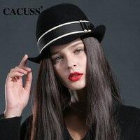 Cacuss Brand Winter Hats Women Wool Fedora Hats Elegant Lady Winter Hats Keep Warm Lager Brim
