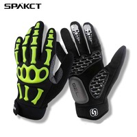 SPAKCT Racing Cycling Gloves Long Finger Skull Bicycle Gloves Gel Pads Motocross Sports Downhill Bike Gloves