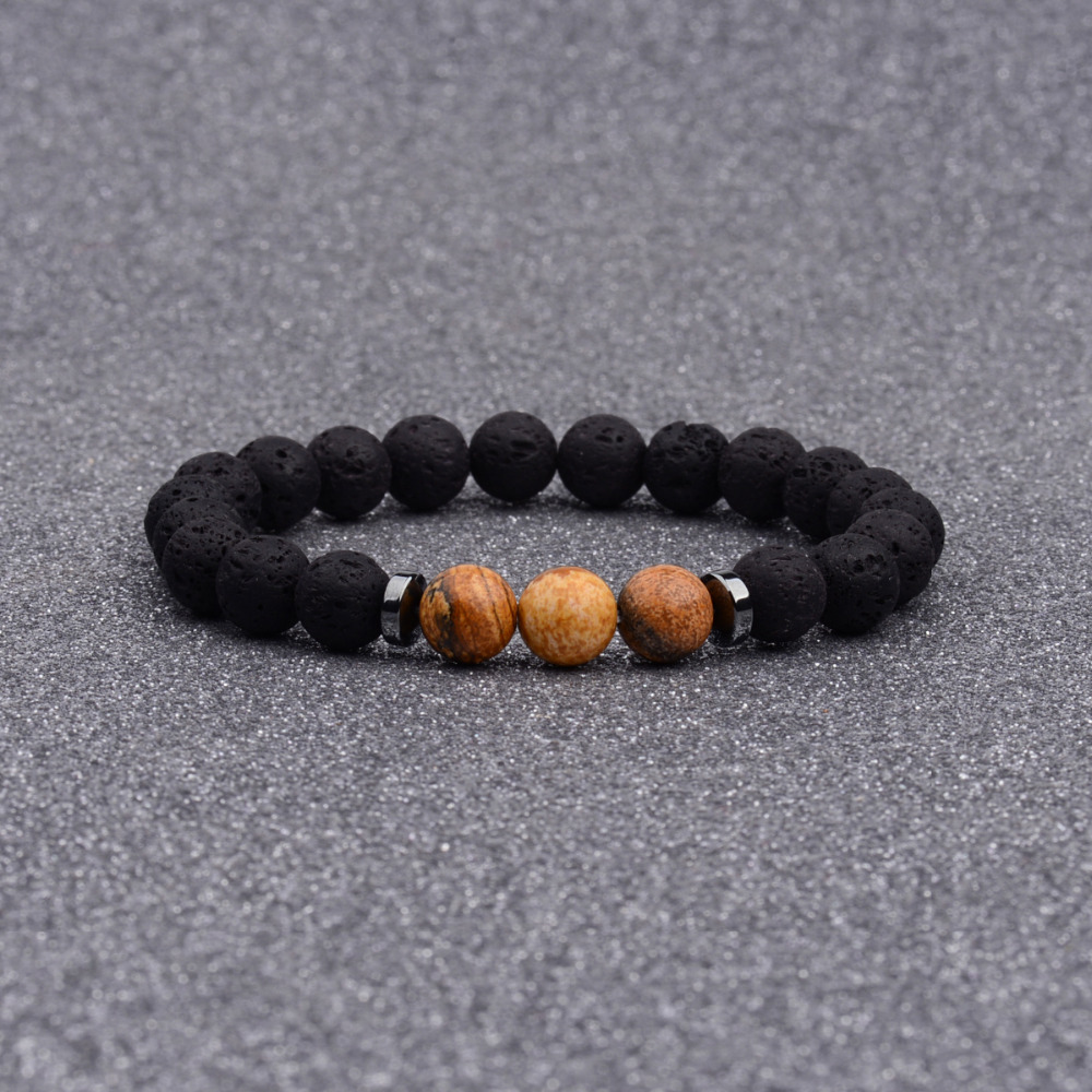 DOUVEI 8MM Black Lava Beads Strand Bracelets Men Handmade Ethnic Bracelets & Bangles For Women Bileklik Dropshipping AB635