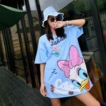 MUMUZI Origigal Design Duck Sequined Tee Dress White Blue Pink Loose High Street Hole Dresses Cute Cartoon Dresses Vestidos