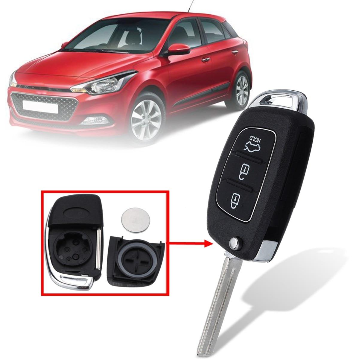 3 кнопки Автомобильный Дистанционный флип-чехол Брелок чехол с батареей для Hyundai Santa Fe IX35 i20 2013 2014