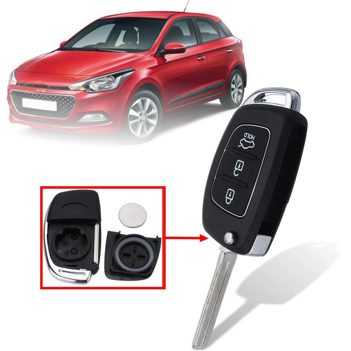 3 Buttons Car Remote Flip Key Fob Case Shell with Battery For Hyundai Santa Fe IX35 i20 2013 2014