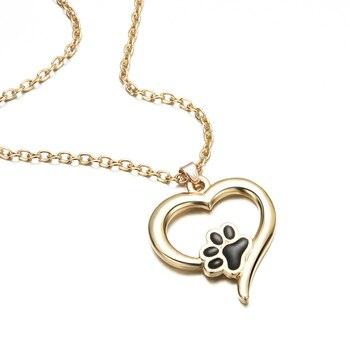 Naszyjnik z wisiorkiem w kształcie serca i śladu łapki psa, kota