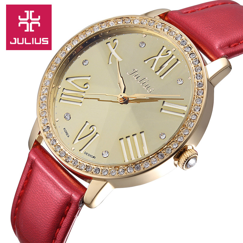 Top Julius Lady Woman Wrist Watch Big Fashion Hours Korea Dress Bracelet Hollow Roman Leather School Student Girl Gift JA-775 top julius brand woman watch rose gold dress lady leather quartz watch girl watches clock creative barrel shape roman character
