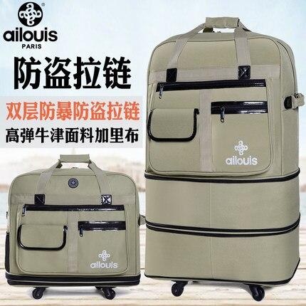 Bagaj ve Çantalar'ten Çek çek valizler'de Seyahat masalı için Gerekli yatılı açık seyahat Büyük hacimli katlanabilir Oxford haddeleme bagaj katlanır arabası bavul'da  Grup 3
