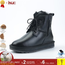 INOE genuine sheepskin leather fur lined short ankle men winter snow boots for man casual winter shoes waterproof black 34-44