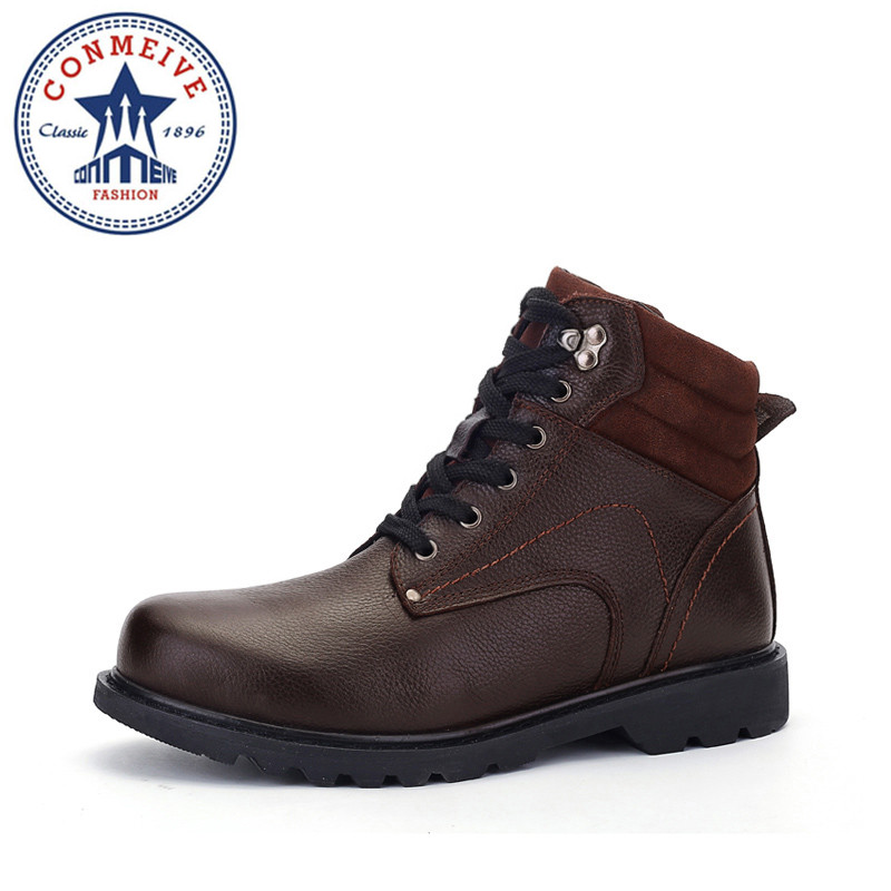 Men's Winter Boots Genuine Leather Snow Boots Super Warm Shoes High Quality Comfortable Plus Size Fur Ankle Boots Waterproof цены онлайн