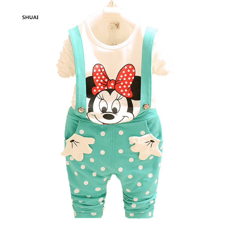 New Baby Girls Minnie Clothing Sets Boys MIckey Autumn Spring Casual Cotton Children's Sets Kids Full Tshirt Suspenders Suits