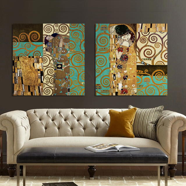 Buy artists gustav klimt the kiss wall for Art painting for home decoration