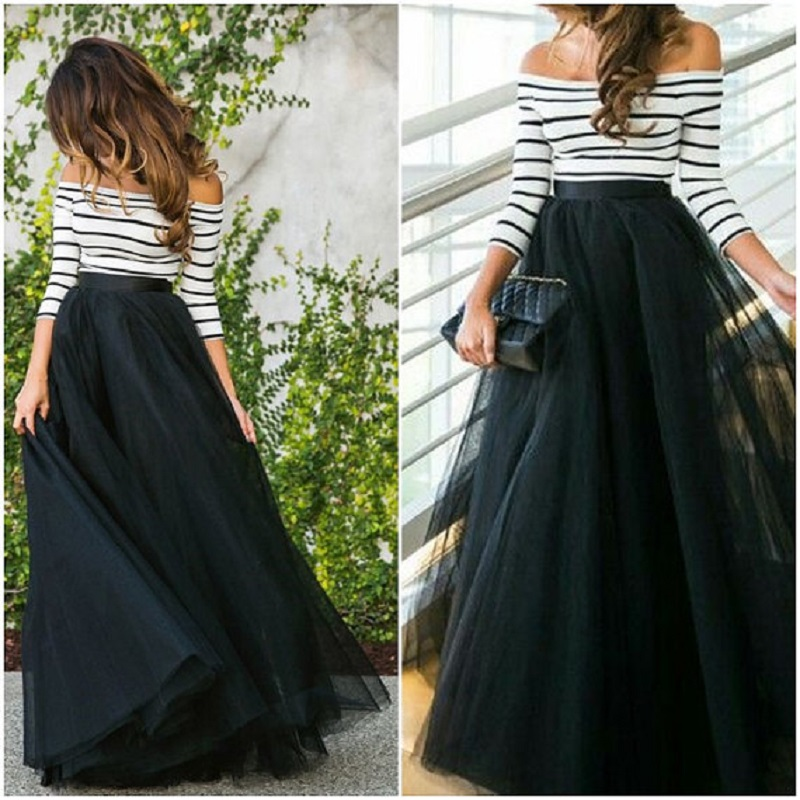 4 Layers 100cm Floor length Skirts for Women Elegant High Waist Pleated Tulle Skirt Bridesmaid Ball Gown Bridesmaid Clothing(China)