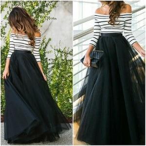 Image 1 - 4 schichten 100cm bodenlangen Röcke für Frauen Elegante Hohe Taille Gefaltete Tulle Rock Brautjungfer Ballkleid Brautjungfer Kleidung