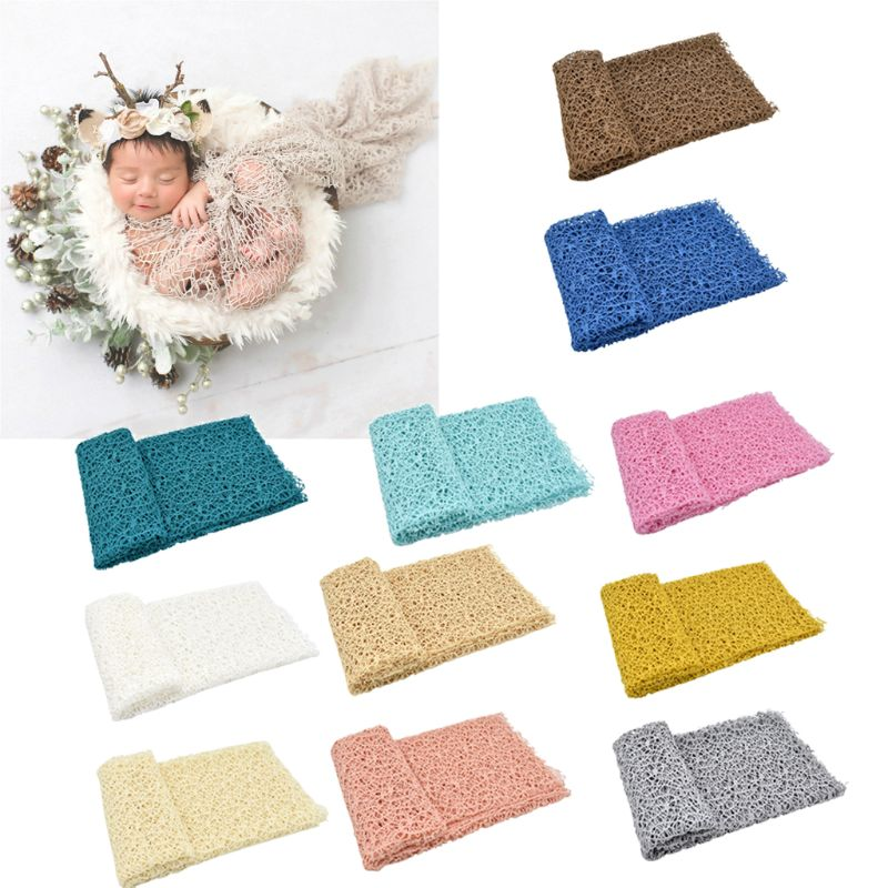 Baby Photography Props Blanket Newborn Stretch Wrap Knit Fabric Hollow Out Swaddle Blanket For Baby Photo Props