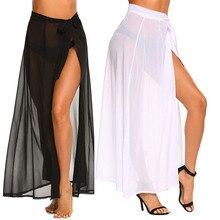 Sexy Mesh Beachwear Cover Ups Summer Beach Wearred Dress Skirt Swimsuit Bikini Women Bathing Suit Pure Black White