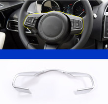 Chrome ABS Steering Wheel Frame Decoration Cover Trim For Jaguar XF F-Pace X761 2016 F-TYPE Car Styling car styling steering wheel decorative frame trim abs chrome accessories for jaguar xe xf f pace f pace2016 2017