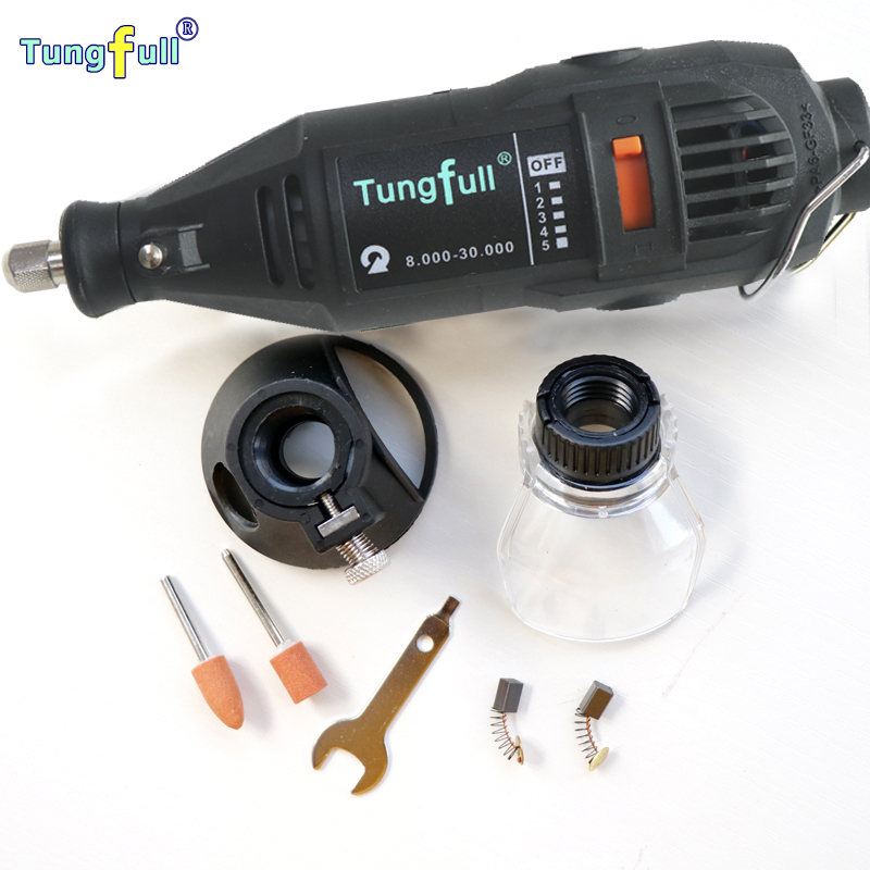 Tungfull 130W Electric Variable Speed Rotary Tool Mini Drill with A550 Shield and Horn seat Dremel Style Electric Rotary Tools  tungfull 130w dremel style electric rotary tool variable speed mini drill with flexible shaft and 124pc accessories power tools