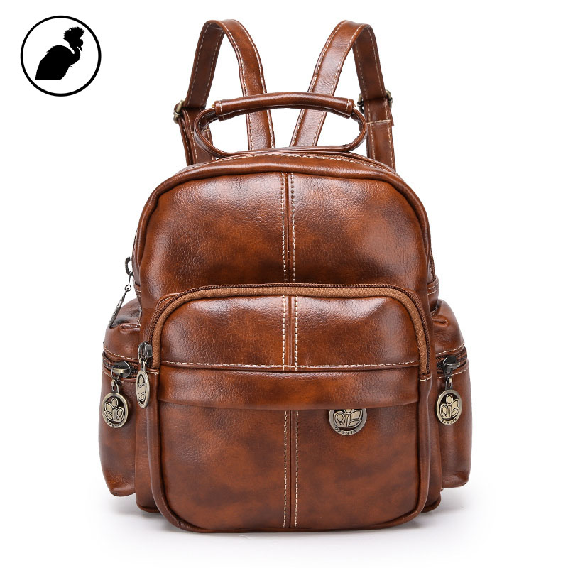 ETONWEAG Famous Brands Leather Schoolbag Backpack Brown Vintage School Bags For Women 2018 Zipper Small Backpack Travel BagPack рюкзак zipit zipper backpack pink brown zbpl 1